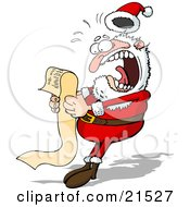 Clipart Illustration Of Santa Claus Screaming In Shock While Reading A Long Wish List From A Child