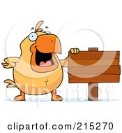 Royalty Free RF Clipart Illustration Of A Chick Beside A Blank Wooden Sign
