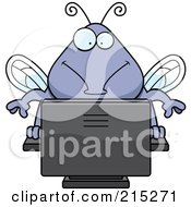 Royalty Free RF Clipart Illustration Of A Bug Using A Computer by Cory Thoman