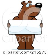 Royalty Free RF Clipart Illustration Of A Friendly Bear Holding A Blank White Sign