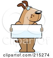 Royalty Free RF Clipart Illustration Of A Friendly Dog Holding A Blank White Sign