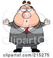 Royalty Free RF Clipart Illustration Of A Plump Lazy Businessman Shrugging by Cory Thoman