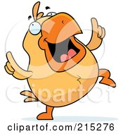 Royalty Free RF Clipart Illustration Of A Chick Doing A Happy Dance by Cory Thoman