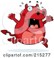 Royalty Free RF Clipart Illustration Of A Stressed Red Devil Panicking by Cory Thoman