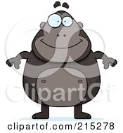 Royalty Free RF Clipart Illustration Of A Plump Ape Standing On His Hind Legs by Cory Thoman