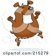 Royalty Free RF Clipart Illustration Of A Chubby Brown Dog Smiling And Jumping