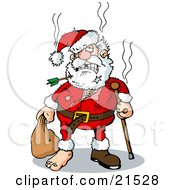 Clipart Illustration Of Beat Up Santa With An Arrow Through His Beard Missing Teeth Tears A Cane And A Missing Shoe by Holger Bogen #COLLC21528-0045