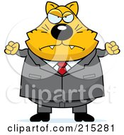 Royalty Free RF Clipart Illustration Of A Plump Mad Business Cat