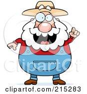 Royalty Free RF Clipart Illustration Of A Plump Senior Farmer With An Idea by Cory Thoman