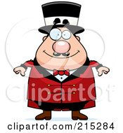 Royalty Free RF Clipart Illustration Of A Plump Circus Man In A Red Suit by Cory Thoman