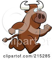 Royalty Free RF Clipart Illustration Of A Bull Running Upright by Cory Thoman