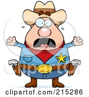 Royalty Free RF Clipart Illustration Of A Plump Scared Sheriff by Cory Thoman
