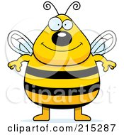 Royalty Free RF Clipart Illustration Of A Plump Bee Standing On His Hind Legs by Cory Thoman