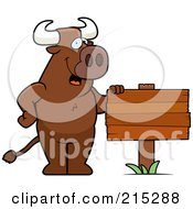 Royalty Free RF Clipart Illustration Of A Friendly Bull Standing By A Blank Wood Sign by Cory Thoman