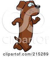 Royalty Free RF Clipart Illustration Of A Daschund Running Upright by Cory Thoman
