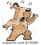 Royalty Free RF Clipart Illustration Of A Singing Dog With Music Notes