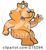 Royalty Free RF Clipart Illustration Of A Friendly Cat Sitting And Waving