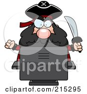 Royalty Free RF Clipart Illustration Of A Grumpy Pirate Using A Computer by Cory Thoman