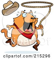 Royalty Free RF Clipart Illustration Of A Chubby Orange Rodeo Cat With A Lasso