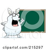 Chubby White Rabbit Pointing To A Chalk Board