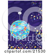Clipart Illustration Of A Colorful Sparkling Disco Ball Circling Over A Dance Floor With Confetti Floating In The Air At A New Years Party Or Night Club
