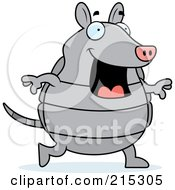 Royalty Free RF Clipart Illustration Of A Happy Armadillo Walking by Cory Thoman