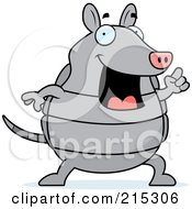 Royalty Free RF Clipart Illustration Of A Happy Armadillo With An Idea by Cory Thoman
