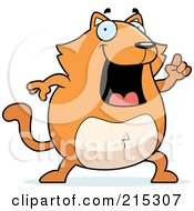 Royalty Free RF Clipart Illustration Of A Chubby Orange Cat With An Idea