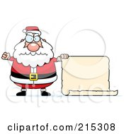 Royalty Free RF Clipart Illustration Of A Plump Angry Santa With A Blank Scroll Sign