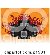 Clipart Illustration Of A Set Of Three Loud Stereo Speakers Pointed In Different Directions Over An Orange Background With Vines And Circles by Paulo Resende