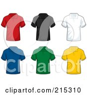 Royalty Free RF Clipart Illustration Of A Digital Collage Of Six Colorful Polo Shirts by Cory Thoman