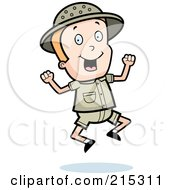 Royalty Free RF Clipart Illustration Of A Blond Safari Boy Jumping