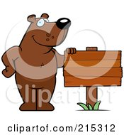 Royalty Free RF Clipart Illustration Of A Friendly Bear Standing By A Blank Wood Sign