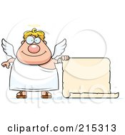 Royalty Free RF Clipart Illustration Of A Plump Blond Male Angel With A Blank Scroll Sign by Cory Thoman