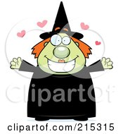 Royalty Free RF Clipart Illustration Of A Plump Green Witch In Love