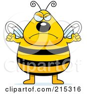 Royalty Free RF Clipart Illustration Of A Plump Angry Bee by Cory Thoman