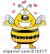 Royalty Free RF Clipart Illustration Of A Plump Bee In Love by Cory Thoman