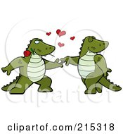 Royalty Free RF Clipart Illustration Of A Romantic Alligator Pair Dancing by Cory Thoman