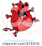 Royalty Free RF Clipart Illustration Of A Red Devil Jumping by Cory Thoman