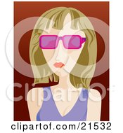 Clipart Illustration Of A Bored Caucasian Woman With Dirty Blond Hair Wearing Pink Sunglasses And A Purple Tank Top