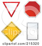Royalty Free RF Clipart Illustration Of A Digital Collage Of Four Beat Up Road Signs by Cory Thoman