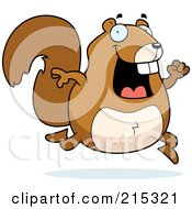 Royalty Free RF Clipart Illustration Of A Happy Squirrel Running by Cory Thoman