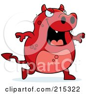 Royalty Free RF Clipart Illustration Of A Red Devil Walking by Cory Thoman