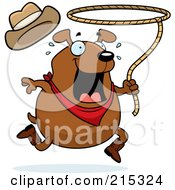 Royalty Free RF Clipart Illustration Of A Chubby Brown Rodeo Dog by Cory Thoman