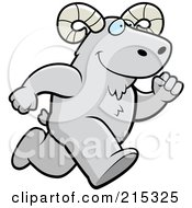 Royalty Free RF Clipart Illustration Of A Ram Running Upright by Cory Thoman
