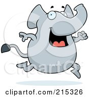 Royalty Free RF Clipart Illustration Of A Happy Elephant Running by Cory Thoman