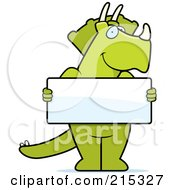 Royalty Free RF Clipart Illustration Of A Friendly Triceratops Holding A Blank White Sign by Cory Thoman