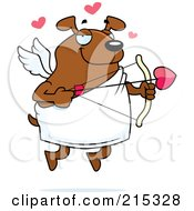 Royalty Free RF Clipart Illustration Of A Chubby Brown Dog Cupid by Cory Thoman