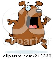 Royalty Free RF Clipart Illustration Of A Chubby Brown Dog Running by Cory Thoman