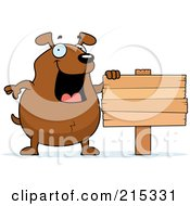 Royalty Free RF Clipart Illustration Of A Chubby Brown Dog Beside A Blank Sign